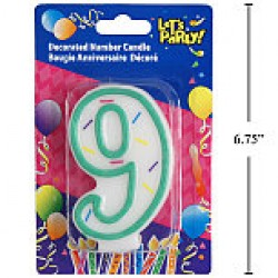 "Birthday Candle ~ Double Sided Number ""9"""