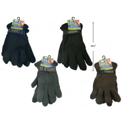 Men's Polar Fleece Gloves with Velcro Strap at Wrist