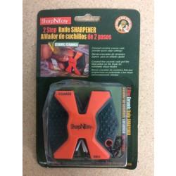 Accu Sharp Sharp-N-Easy 2-Step Knife Sharpener ~ Fluorescent Orange
