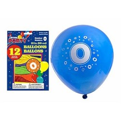 "12"" Round Balloons - Number 0 ~ 12 per pack"