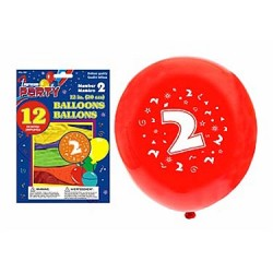"12"" Round Balloons - Number 2 ~ 12 per pack"