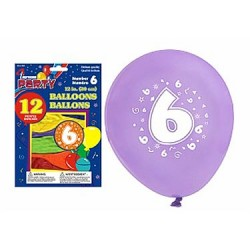 "12"" Round Balloons - Number 6 ~ 12 per pack"