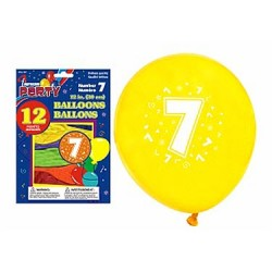 "12"" Round Balloons - Number 7 ~ 12 per pack"