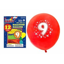 "12"" Round Balloons - Number 9 ~ 12 per pack"