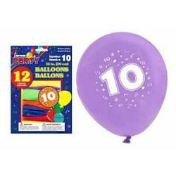"12"" Round Balloons - Number 10 ~ 12 per pack"