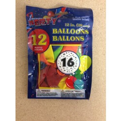 "12"" Round Balloons - Number 16 ~ 12 per pack"