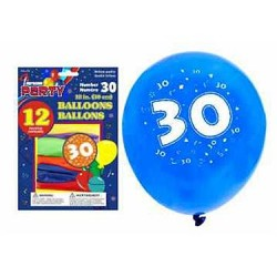 "12"" Round Balloons - Number 30 ~ 12 per pack"