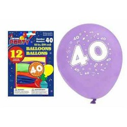 "12"" Round Balloons - Number 40 ~ 12 per pack"