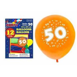 "12"" Round Balloons - Number 50 ~ 12 per pack"