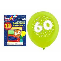 "12"" Round Balloons - Number 60 ~ 12 per pack"
