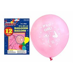 "12"" Round Balloons - Pink - IT'S A GIRL ~ 12 per pack"