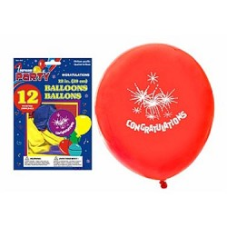 "12"" Round Balloons - Assorted Colors - CONGRATULATIONS ~ 12 per pack"