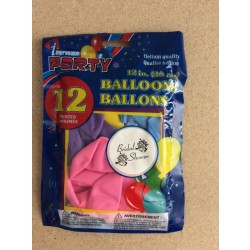 "12"" Round Balloons - Assorted Colors - BRIDAL SHOWER ~ 12 per pack"