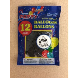 "12"" Round Balloons - Black w/OVER THE HILL ~ 12 per pack"
