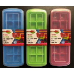 Flexible Ice Cube Trays with Cover ~ 1 per pack