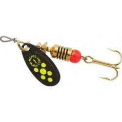 Mepps Black Fury Lures ~ Chartreuse Dots