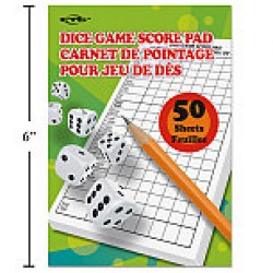 Dice Game Score Pad