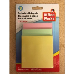 "Self-Stick Notepads - 3"" x 3"" ~ 3 per pack"