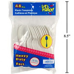 Plastic Cutlery - Tea Spoons ~ 48 pieces per pack