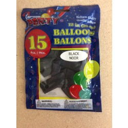 "12"" Round Balloons - Black ~ 12 per pack"
