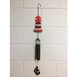 "Metal/Glass Lighthouse Windchime ~ 33""L"