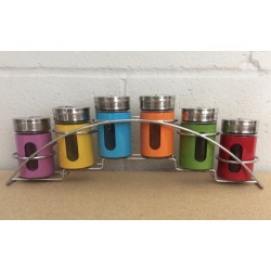 Rainbow Glass Spice Jars w/Rack