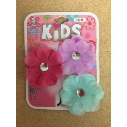Kid's Flower Clips with Rhinestone ~  3 per pack