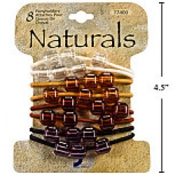 Naturals Ponyholders w/Beads ~ 8 per pack
