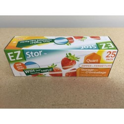 "EZ Stor Zipper Seal Storage Bags - 8"" x 7"" ~ 20 per box"