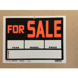 "PVC Sign - 9"" x 12"" ~ For Sale {year/model/price}"