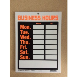"PVC Sign - 9"" x 12"" ~ Business Hours"