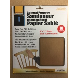 "General Purpose Sandpaper ~ 9""x11"" ~ Assorted Grits"