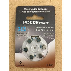 Hearing Aid Batteries #312 ~ 6 per pack