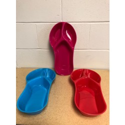 Plastic Sandal Shaped 3-Section Tray