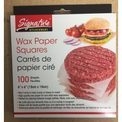 "Wax Paper Squares - 6"" x 6"" ~ 100 sheets per pack"