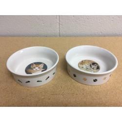 """Stoneware Printed Cat Bowl ~ 5-1/8"""" Diameter"""
