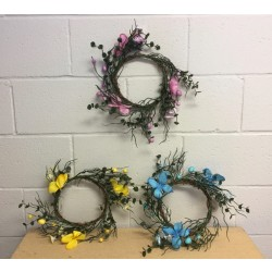 "Easter Wreath w/Eggs, Flowers & Butterflies ~ 6.5"" Diameter"