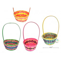 """Easter Oval Round 3-Color Bamboo Basket ~ 14.5""""H"""