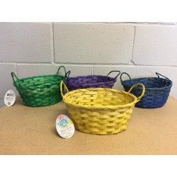 "Easter Oval Bamboo Basket w/Handles ~ 9"" Round"