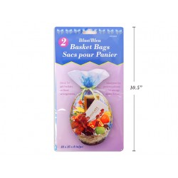 "Easter Blue Cello Basket Bags - 22"" x 25"" x 8"" ~ 2 per pack"
