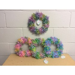 "Easter Gingham Hanging Tinsel Wreath ~ 10""D"