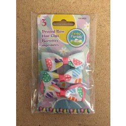 Easter Printed Bow Hair Clip ~ 3 per pack