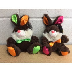 "Neon Plush Bunny with Satin Ribbon ~ 8""H"