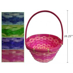 """Easter 2-Tone Round Bamboo Basket with Movable Handle ~ 10.25"""""""