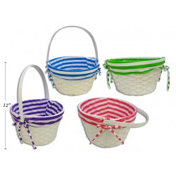 """Easter White Bamboo Lined Basket with Movable Handle ~ 12"""""""