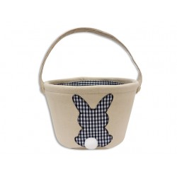 """Easter Canvas Lined Easter Basket with Handle ~ 9.75"""""""