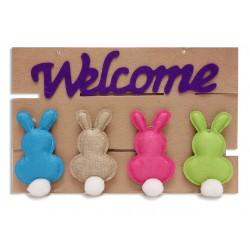"Easter Burlap Bunny Welcome Plaque ~ 15.75"" x10.25"""