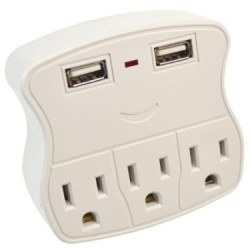 1 to 3 Grounded Outlet Adapter w/2 USB Ports