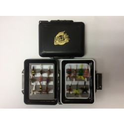 Mr Fly Waterproof & Floatable Fly Box w/ 16 Assorted Salmon Flies