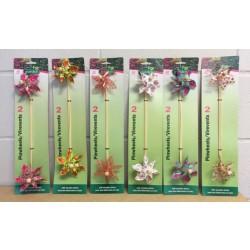"Pinwheels w/Wooden Stick - 12"" ~ 2 per pack"